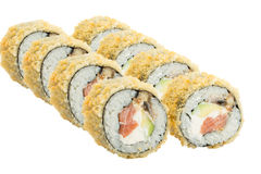 Warm sushi roll isolated on white background Royalty Free Stock Image