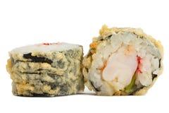 Warm sushi roll isolated on white background Stock Images