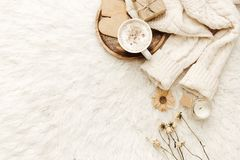 Warm sweater, coffee and dried flowers at white background. royalty free stock images