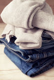 Warm sweater and jeans Royalty Free Stock Photos