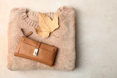 Warm sweater and purse. Female warm sweater and purse on neutral background. Concept autumn clothes Royalty Free Stock Photography