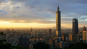 Warm Taipei 101 Sunset stock photo