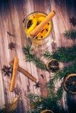 Warm tea orange cloves ginger lemon honey Stock Photos