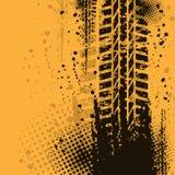 Warm tire track background. Orange grunge background with black tire track. eps10 Stock Image