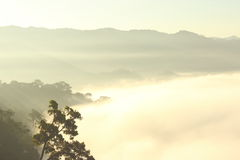 Warm tone mountains under mist in the morning Stock Images