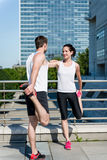 Warm up - couple exercising Royalty Free Stock Photography