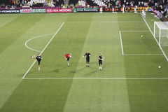 Warm up the England goalkeepers Stock Photography