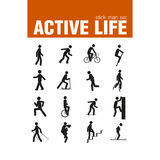 Warm-up exercise stick man set Stock Images