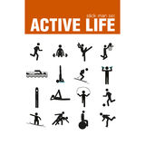 Warm-up exercise stick man set. Vector active warm-up exercises stick man set Stock Photo