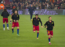 Warm-up FC Barcelona royalty free stock photography