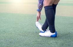 Warm up football.Soccer Stretching - Flexibility Exercises for Youth Soccer Players. stock image