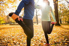 Warm up before jogging Royalty Free Stock Photos
