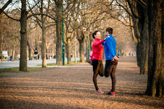 Warm up before jogging Royalty Free Stock Image
