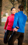 Warm up before jogging Royalty Free Stock Photo