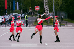 Warm up majorettes. Royalty Free Stock Photography