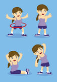 Warm Up and Stretching Exercises Vector Illustration Stock Images