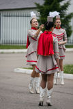 Warm up three majorettes. Royalty Free Stock Photo