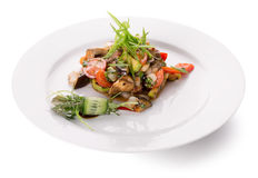 Warm vegetables salad with meat Royalty Free Stock Photography
