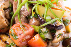 Warm vegetables salad with meat Royalty Free Stock Image