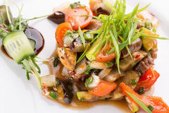 Warm vegetables salad with meat Stock Photography