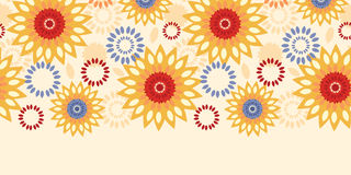 Warm vibrant floral abstract horizontal seamless pattern background Royalty Free Stock Photography