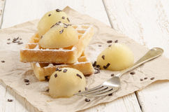 Warm waffle with melon balls Royalty Free Stock Photos