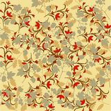 Warm wallpaper. Pattern made of silhouettes of plants Stock Photos