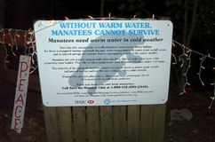 Warm Water Habitat for Manatees Sign Stock Photo