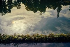 Warm water surface. Calm water reflection royalty free stock images