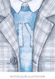Warm wear look. Hand painted coat in fashion concept. Royalty Free Stock Images