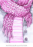 Warm wear look. Hand painted jacket, knitting scarf in fashion concept. Royalty Free Stock Images