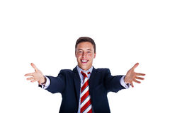 Warm welcome. Manager with arms wide open in a warm welcome Stock Image