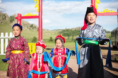 Warm Welcome from Mongolian kids Royalty Free Stock Photo