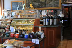 Warm and welcoming main room of Met Coffee Shop, North Conway, NH, 2016 Royalty Free Stock Photos