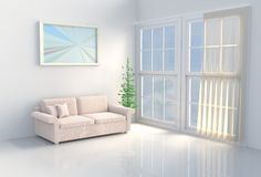 Warm white room decor The sun shines through the window into the shadows. 3D render. Warm white room decor with white cement wall, tile floor, curtain, window royalty free illustration