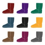 Warm winter blue ugg boots. Comfortable winter shoes for everyday wear .Different shoes single icon in black style Royalty Free Stock Images