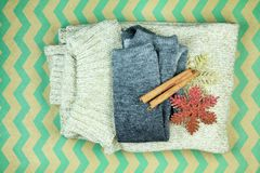 Warm winter closet. Wool knitted clothes for winter season, Sweaters knitwear, Christmas items royalty free stock image