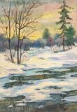 Warm winter evening. Bright spring landscape with a river after melting snow with trees made in watercolor stock images