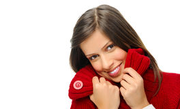 Warm winter girl is all smiles Stock Images