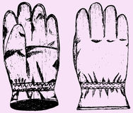 Warm, winter gloves. Doodle style, hand drawn Stock Images