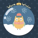 Warm Winter greeting card with a cute owl Stock Photography