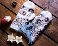 Warm winter mittens Stock Photo