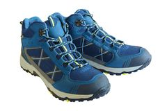 Warm winter trekking shoes for men. Sports shoes for tracking. I. Solated, white background stock photography