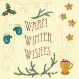 Warm winter wishes. Hand drawn greeting card. Stock Photo
