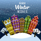 Warm Winter Wishes. Little Town Under The Snow. Vector Illustrated Greeting Card, Post Card, Invitation Royalty Free Stock Images