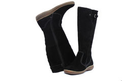 Warm winter womens black boots on white background Stock Photography