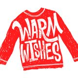 Warm wishes. Christmas calligraphy. Handwritten modern brush lettering. Hand drawn design elements. Red sweater. Cartoon stock illustration