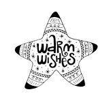 Warm wishes hand drawn christmas lettering phrase. Cute doodle style  illustration Royalty Free Stock Images