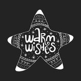 Warm wishes hand drawn christmas lettering phrase. Cute doodle style  illustration Stock Image
