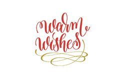 Warm wishes hand lettering holiday red and gold inscription Royalty Free Stock Photography